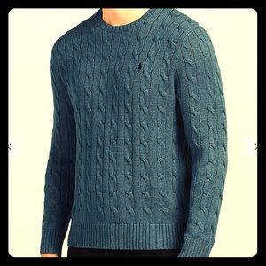 Blue Heather Crew Neck Cable Knit Silk Sweater